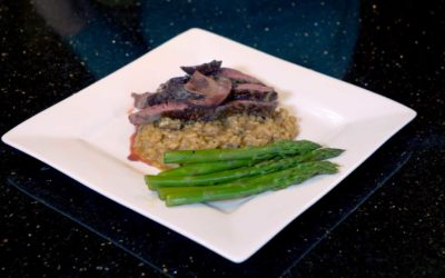 Mushroom Risotto with Sirloin Steak and Asparagus